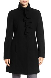 Tahari Women's 'Kate' Ruffle Collar Wool Blend Coat