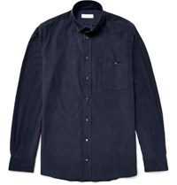 Richard James Slim Fit Button Down Collar Cotton Corduroy Shirt Blue