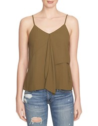 1.State V Neck Ruffled Tank Top Green