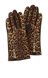 Karen Millen Leopard Print Gloves Multi Coloured