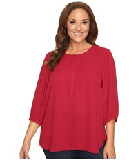 Nydj Plus Size Solid 3 4 Sleeve Pleat Back Carmine Women's Long Sleeve Button Up Red