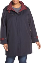 Gallery Plus Size Women's Water Repellent A Line Rain Jacket Navy
