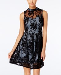 Speechless Juniors' Illusion Lace Fit And Flare Dress Light Blue Black