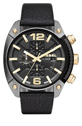 Diesel Chronograph Leather Strap Watch 49Mm Black Gold