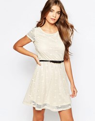 Pussycat London Jersey Dress With Heart Detail Off White