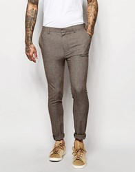 Asos Super Skinny Suit Trousers In Dogstooth In Brown Brown