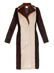 Edun Tri Colour Faux Fur Long Coat