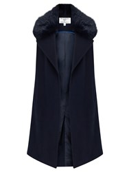 Helene For Denim Wardrobe Faux Fur Collar Waistcoat Navy
