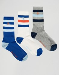 Original Penguin 3 Pack Retro Sport Style Socks Blue