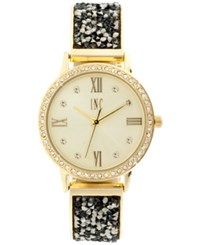 Inc International Concepts Women's Gold Tone And Hematite Crystal Stone Glitter Bracelet Watch 34Mm Only At Macy's