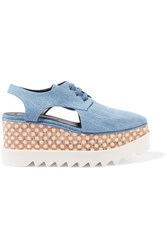 Stella Mccartney Elyse Denim Platform Brogues Light Blue