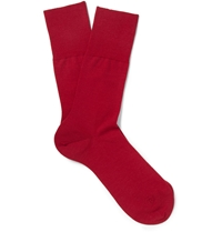 Falke Airport Wool And Cotton Blend Socks Red