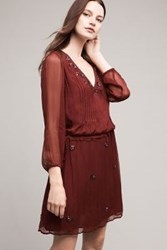 Anthropologie Port Royale Beaded Tunic Wine
