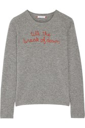 Lingua Franca Till The Break Of Dawn Embroidered Cashmere Sweater Gray
