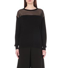 Izzue Sheer Panel Detail Knitted Jumper Bkx