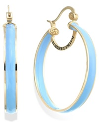 Sis By Simone I Smith Blue Raspberry Enamel Hoop Earrings In 18K Gold Over Sterling Silver 40Mm