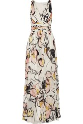Badgley Mischka Pleated Printed Chiffon Gown White