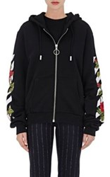Off White C O Virgil Abloh Women's Rose And Striped Embroidered Fleece Zip Front Hoodie Black