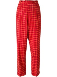 Moschino Vintage Checked Trousers Red