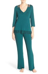 Midnight By Carole Hochman Women's Lace Trim Jersey Pajamas Green