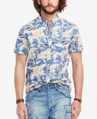 Denim And Supply Ralph Lauren Floral Print Poplin Sport Shirt Tropical Navy