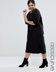 Asos Curve Cotton Midi T Shirt Dress With Raglan Sleeve And Boat Neck Black