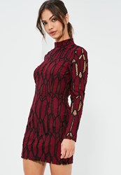 Missguided Burgundy Lace High Neck Bodycon Dress