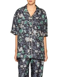 Burberry Short Sleeve Floral Pajama Shirt Navy