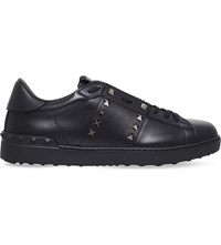 Valentino Rockstud Studded Leather Tennis Shoes Black
