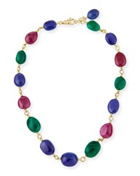Goshwara Rubellite Emerald And Tanzanite Station Necklace In 18K Yellow Gold 18