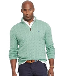Polo Ralph Lauren Big And Tall Cable Knit Tussah Silk Sweater Mint Green Heather