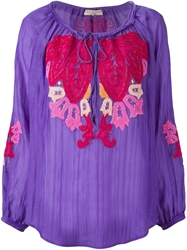 Emilio Pucci Embroidered Peasant Blouse Pink And Purple