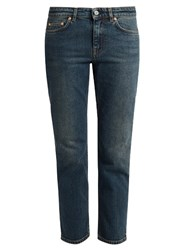 Acne Studios Row Relaxed Cropped Jeans Mid Blue