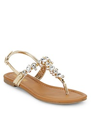 Kenneth Cole Reaction Drag Fire Jeweled Sandals Gold