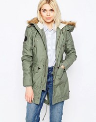 Alpha Industries Hooded Fishtail Iii Parka With Faux Fur Hood Olive Green