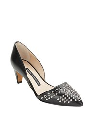 French Connection Kodee Leather Studded D'orsay Heels Black Black
