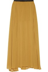 Enza Costa Pleated Chiffon Maxi Skirt Saffron