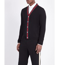 Gucci Striped Wool Cardigan Black Green Red