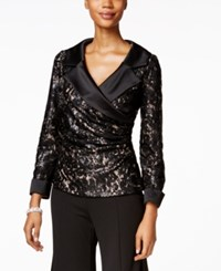 Alex Evenings Sequin Lace Faux Wrap Blouse Black