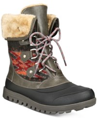 Bare Traps Yaegar Lace Up Cold Weather Booties Women's Shoes Dark Grey