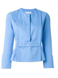 Carven Square Bib Blouse Blue