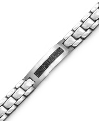 Macy's Men's Black Diamond Id Bracelet In Stainless Steel 3 8 Ct. T.W.