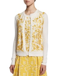 Oscar De La Renta Long Sleeve Floral Embroidered Cardigan Ivory Marigold