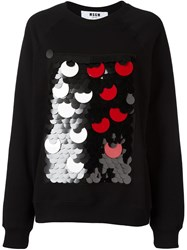 Msgm Sequin Embellished Sweatshirt Black