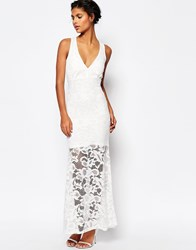 Wyldr Dramatic Lace Maxi Dress White