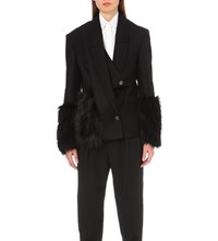 Chalayan Faux Fur Trim Wool Blend Jacket Black