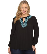 Stetson Plus Size Poly Crepe Peasant Blouse Black Women's Blouse
