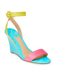 Brian Atwood B Kimi Snakeskin Leather Wedge Sandals Multi Colored