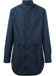 3.1 Phillip Lim Tunic Pinstripe Shirt Jacket Blue