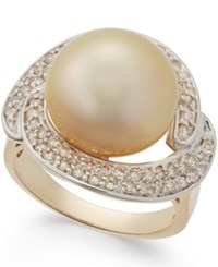 Macy's Cultured Golden South Sea Pearl 13Mm And Diamond Ring 5 8 Ct. T.W. In 14K Gold Yellow